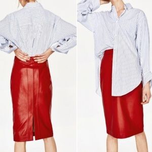 Red Faux Leather Pencil Skirt ♥️